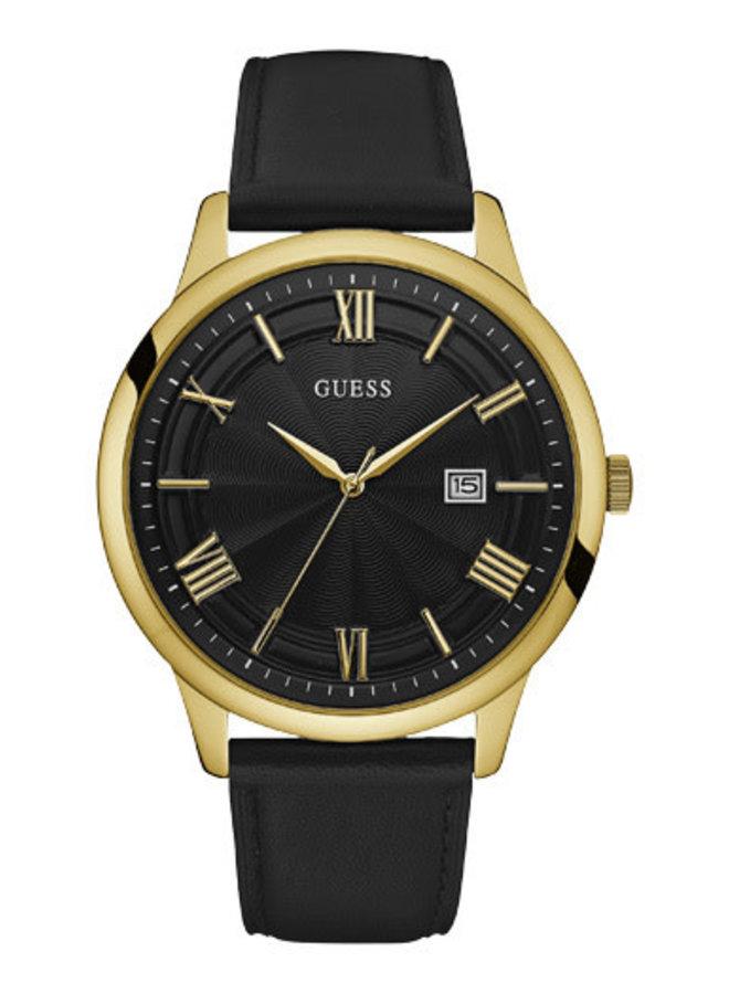 Guess acier doré bracelet cuir noir 45mm