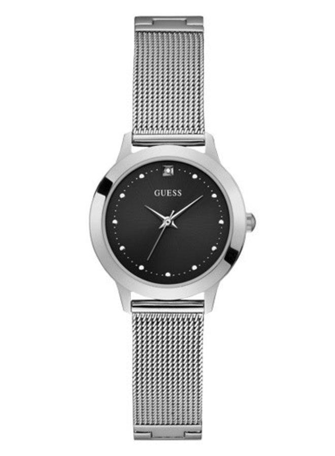 Guess dame acier fond noir zircon bracelet mèche 30mm