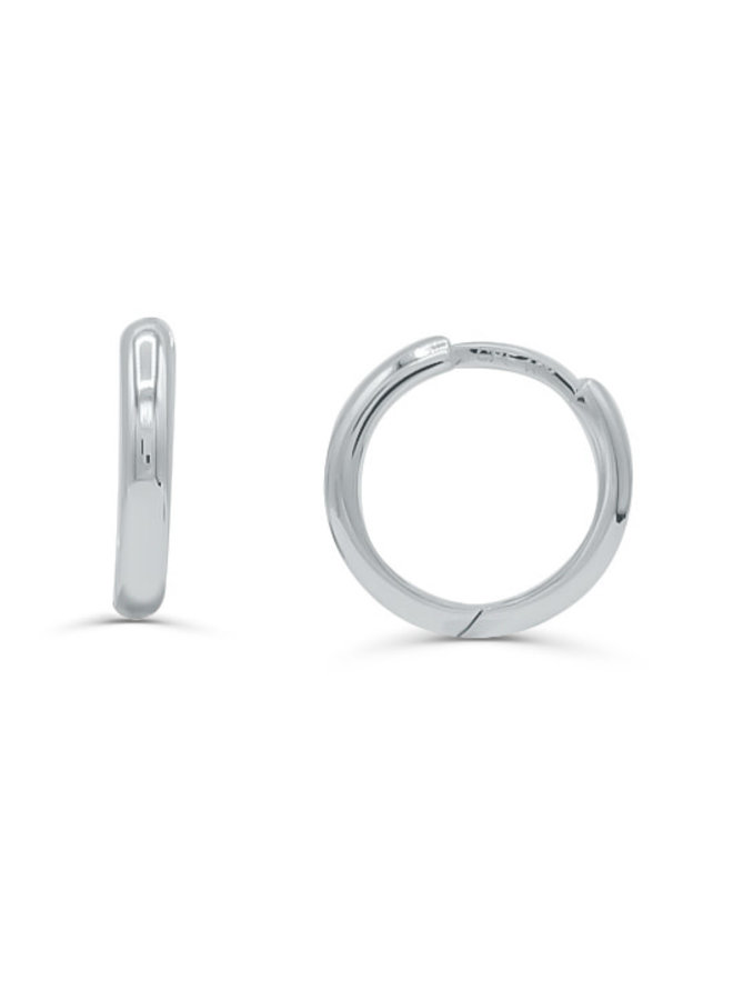 Boucle d'oreille huggies 10k blanc uni 12mm