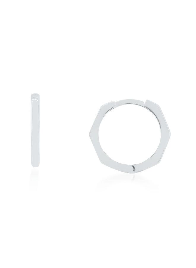 boucle d'oreille anneau 10k blanc hexagone 15mm