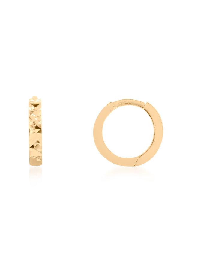 Boucle d'oreille huggies 10k jaune coupe diamant 11mm