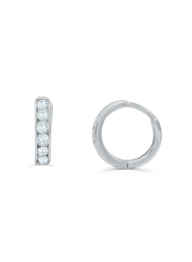 Boucle d'oreille huggies 10k blanc zircon 11mm