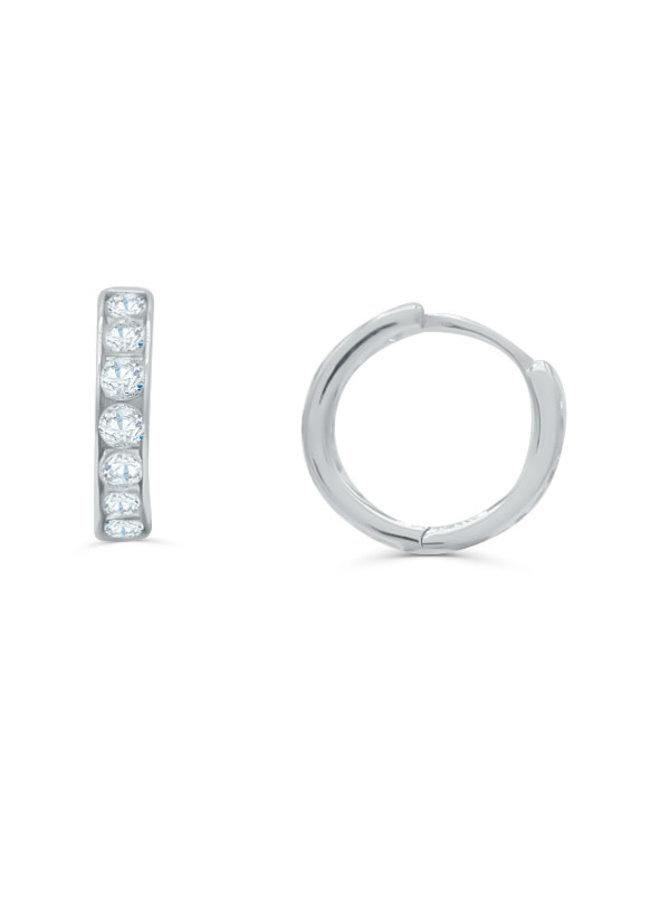Boucle d'oreille huggies 10k blanc zircon 13mm