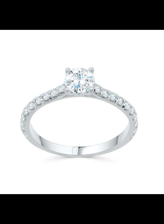 Bague 14k solitaire diamants 1x0.50ct  20=0.38ct SI 1 GH