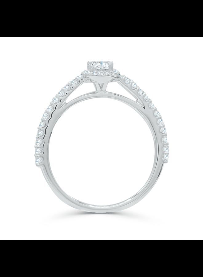 Bague 14k blanc diamant ovale