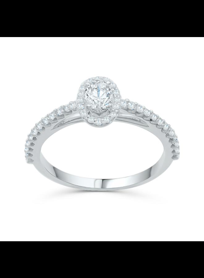 Bague 14k blanc diamant halo 1x0.42   20=0.25ct SI1 GH