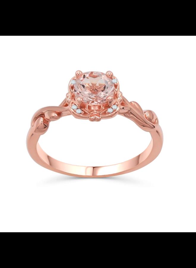 Bague 14k rose diamant 0.2ct si gh Morganite 6mm AA