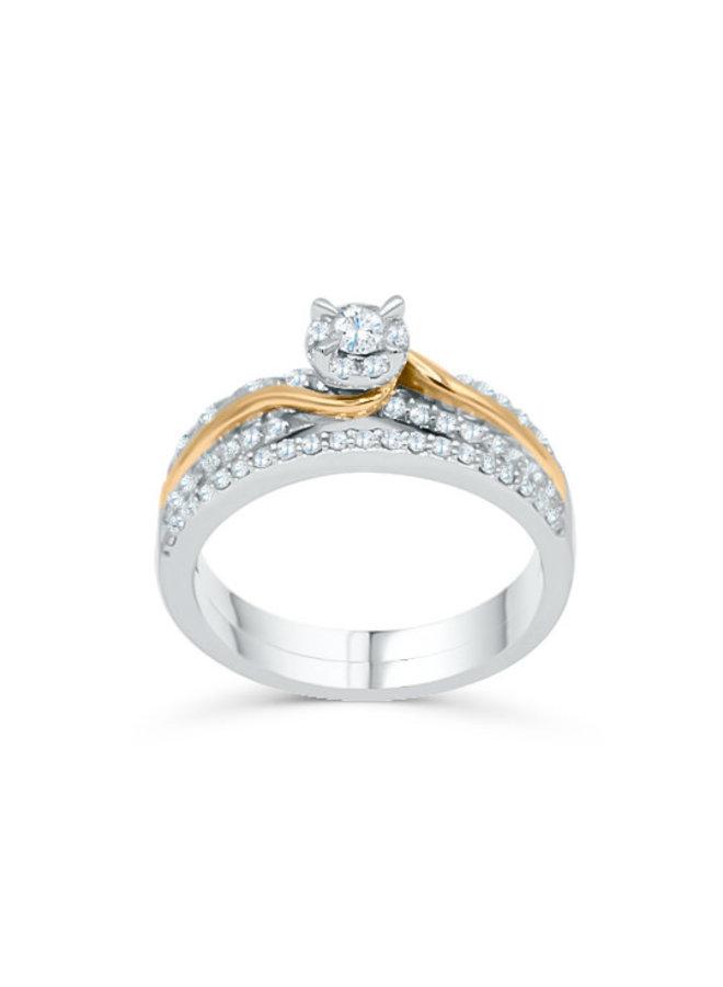 Set alliance 10k 2 tons diamant 0.50ct I GH