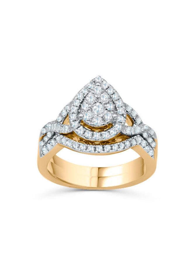 Set alliance 10k jaune style poire diamant 0.97ct I GH