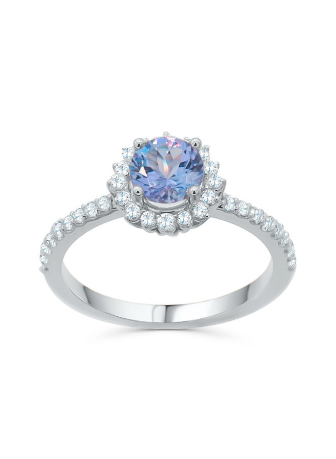 Bague 14k blanc diamant 0.33ct SI GH Tanzanite