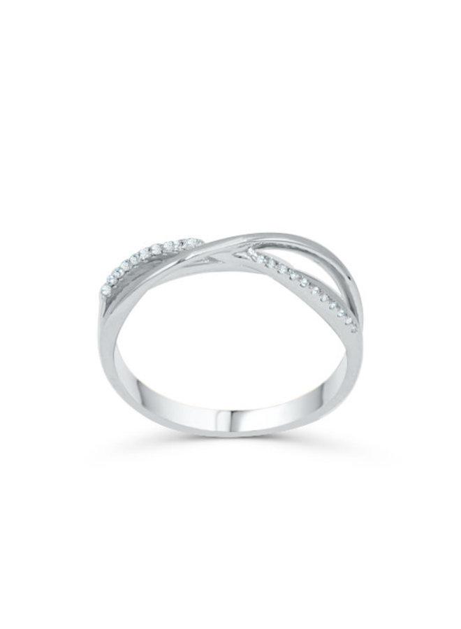 Bague 10k diamant 0.07ct I GH style croisé