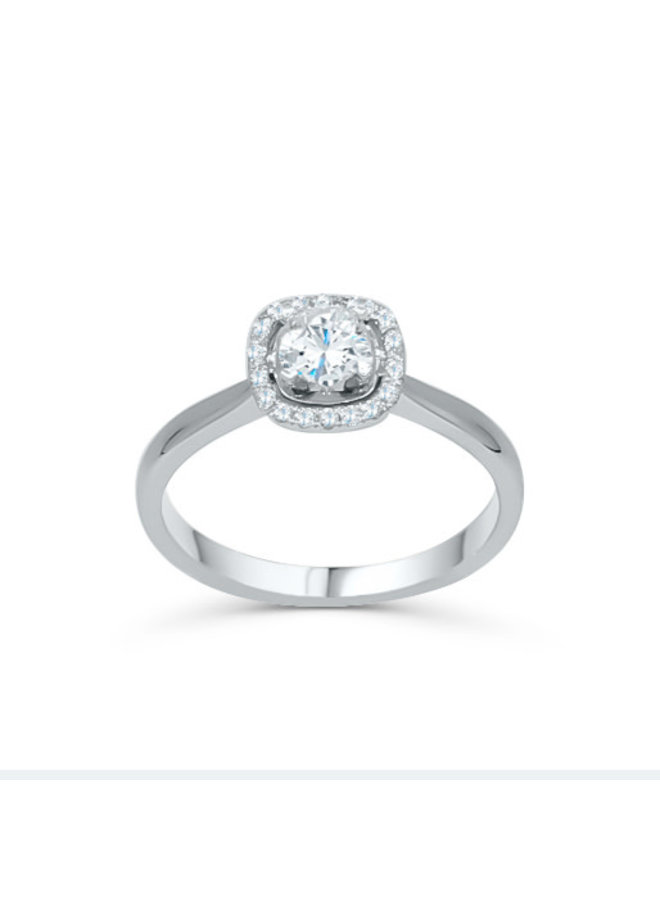 Bague 14k style halo diamant 0.50ct I GH