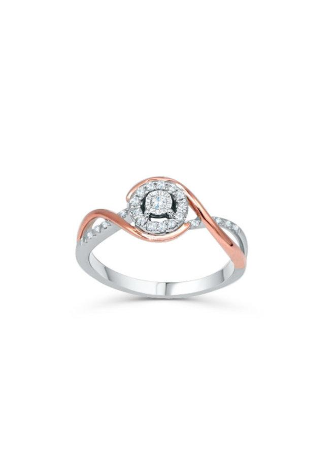 Bague 10k 2 tons diamant 0.16ct I GH