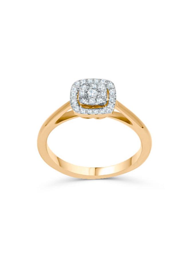 Bague 10k style halo jaune diamant 0.25ct I GH