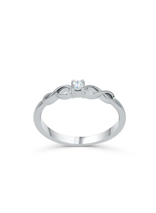 Bague 10k blanc diamant infini