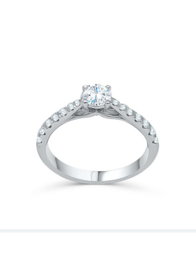 Bague 14k blanc diamant 0.75ct SI GH