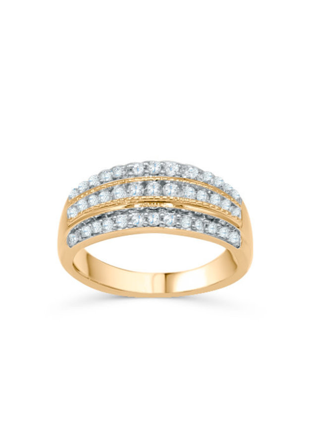 Jonc or 10k jaune large diamant 39=0.50ct I GH