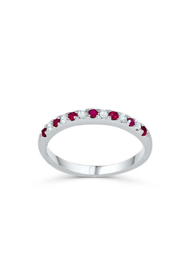 Jonc semi-éternité 10k blanc diamant 0.25ct I GH Rubis