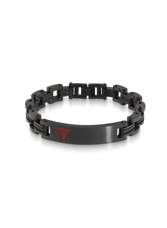 Bracelet medic acier noir 8.5'' logo rouge