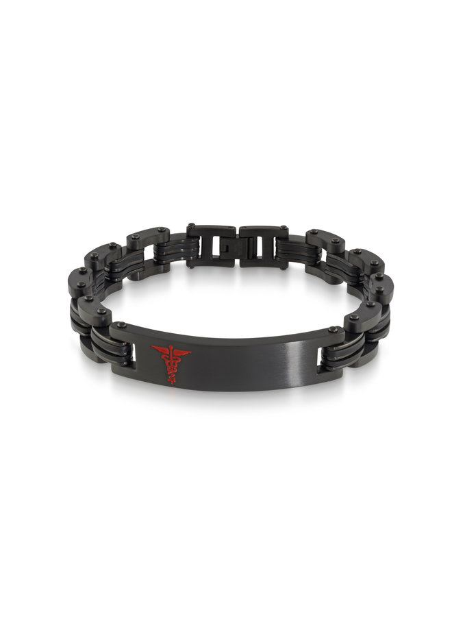 Bracelet medic acier noir logo rouge