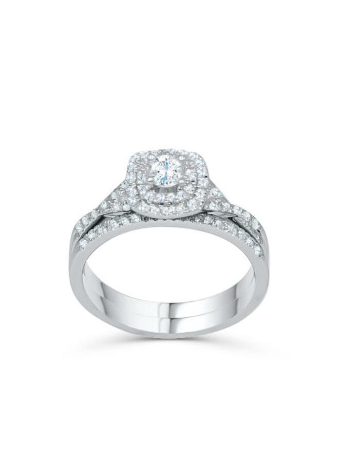 Set alliance 14k blanc diamant 1x0.24ct 0.26ct total I GH