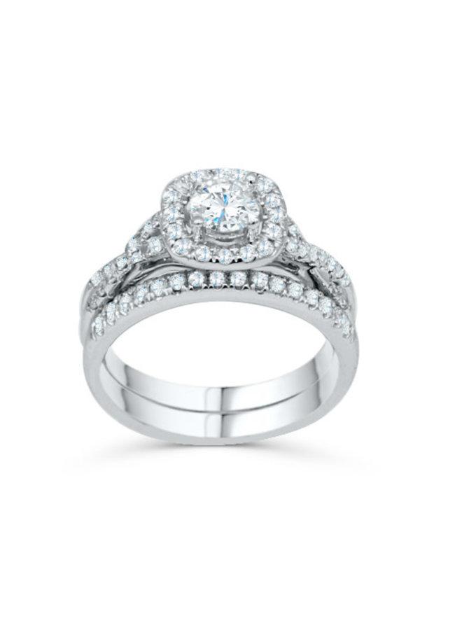 Set alliance 14k blanc diamant 1x0.50ct 0.50ct total I GH