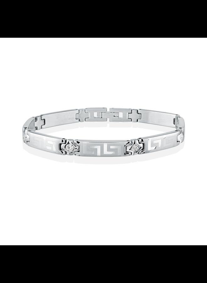 Bracelet acier 7.5'' versace pierre blanche