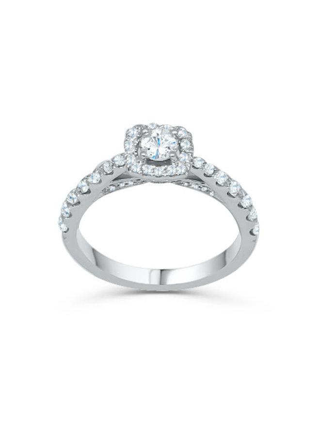 Bague 14k blanc diamant 1x0.31  0,95ct total I GH