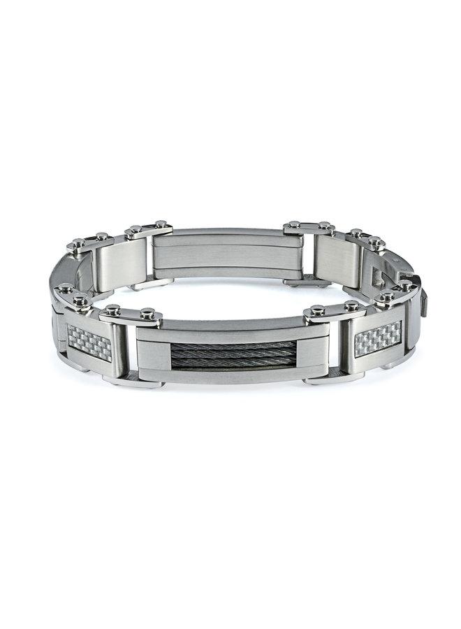 Bracelet acier homme meche carbone