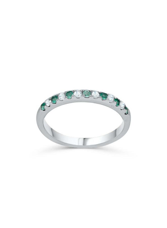 Jonc semi-éternité 10k diamant 0.25ct I GH Émeraude