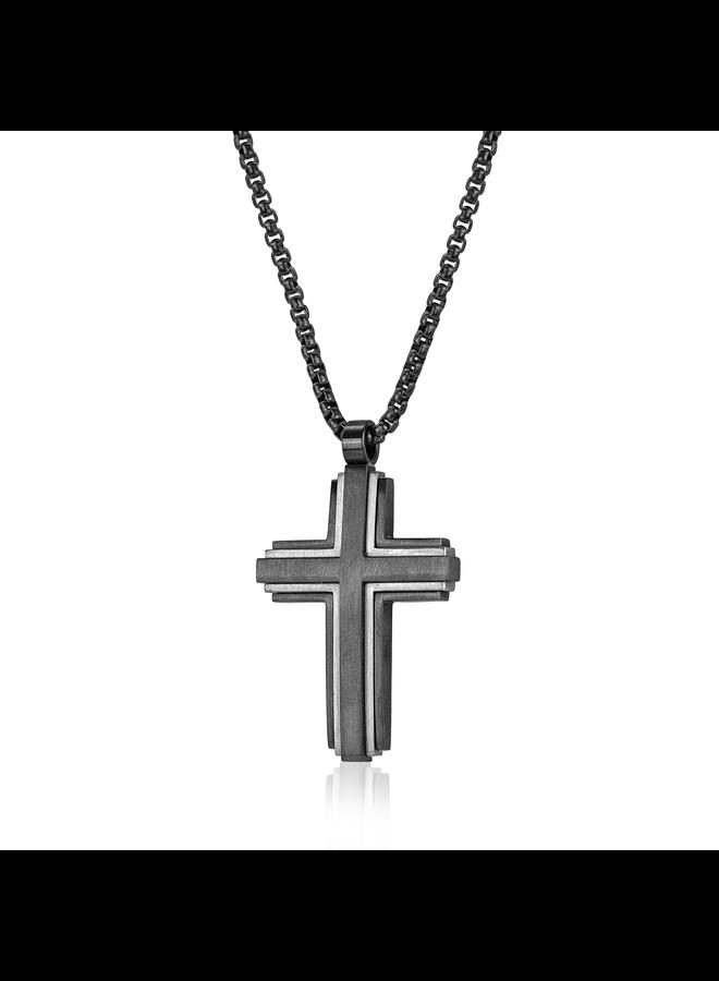 Chaine acier noir 22'' pendentif croix acier et noir