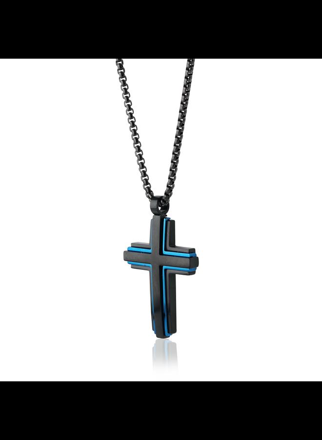 Chaine acier noir 22'' pendentif croix noir et bleu