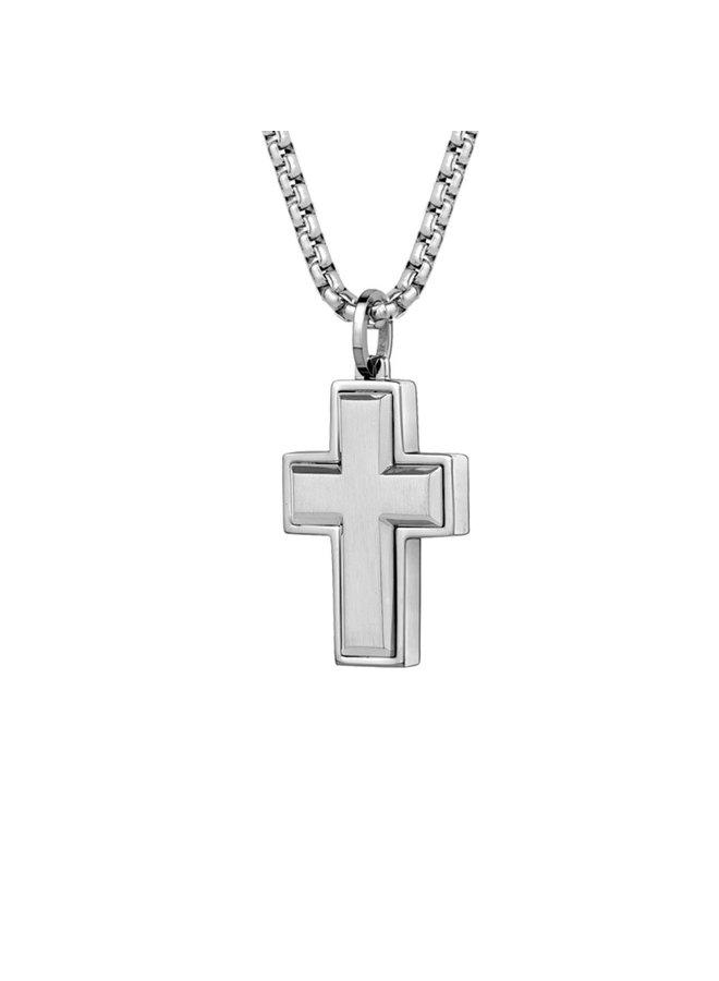 Chaine acier 22'' pendentif croix