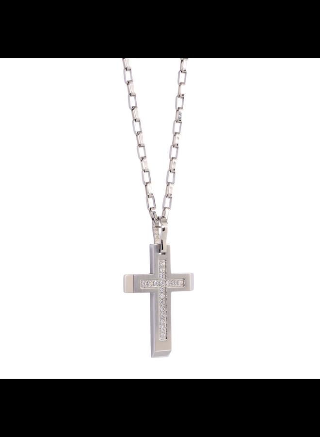 Chaîne pendentif acier croix zircon 22''gourmette