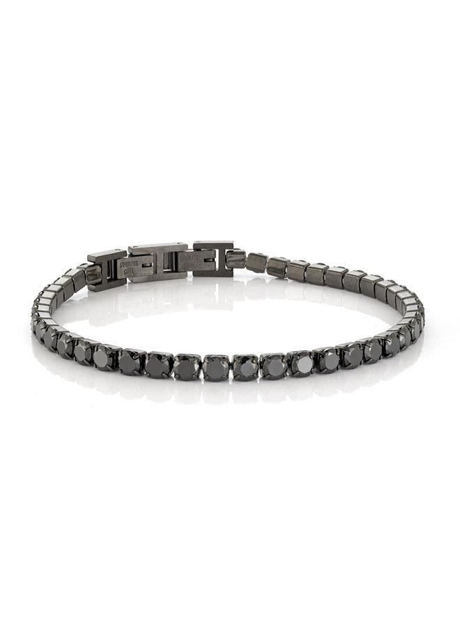Bracelet acier tennis noir zircon noir 3mm