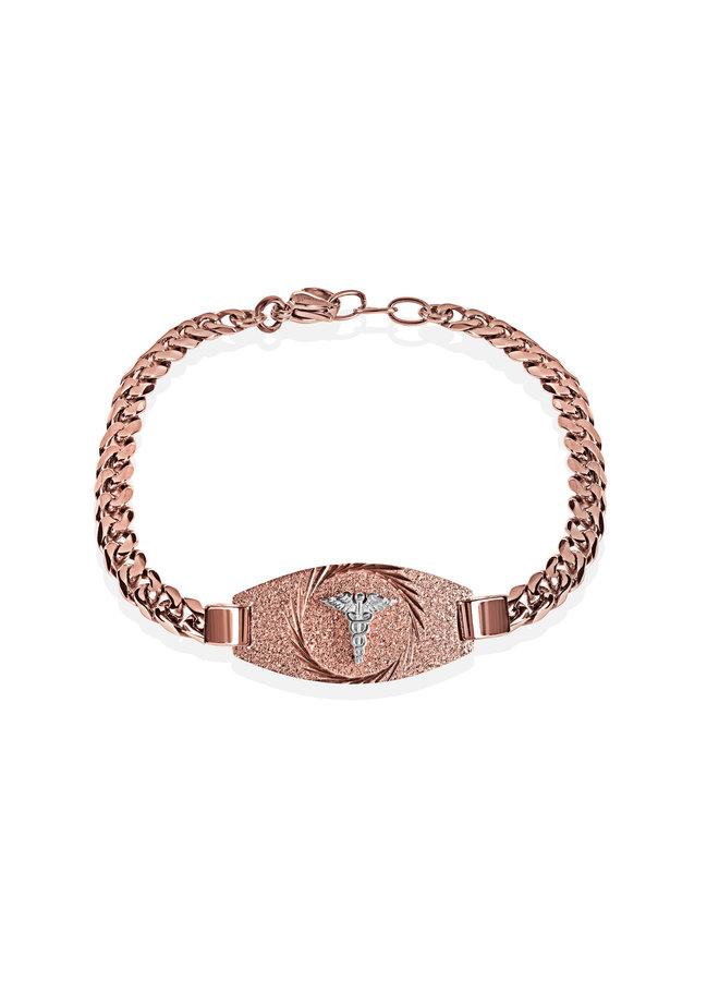 Bracelet medic acier rose 7.25''