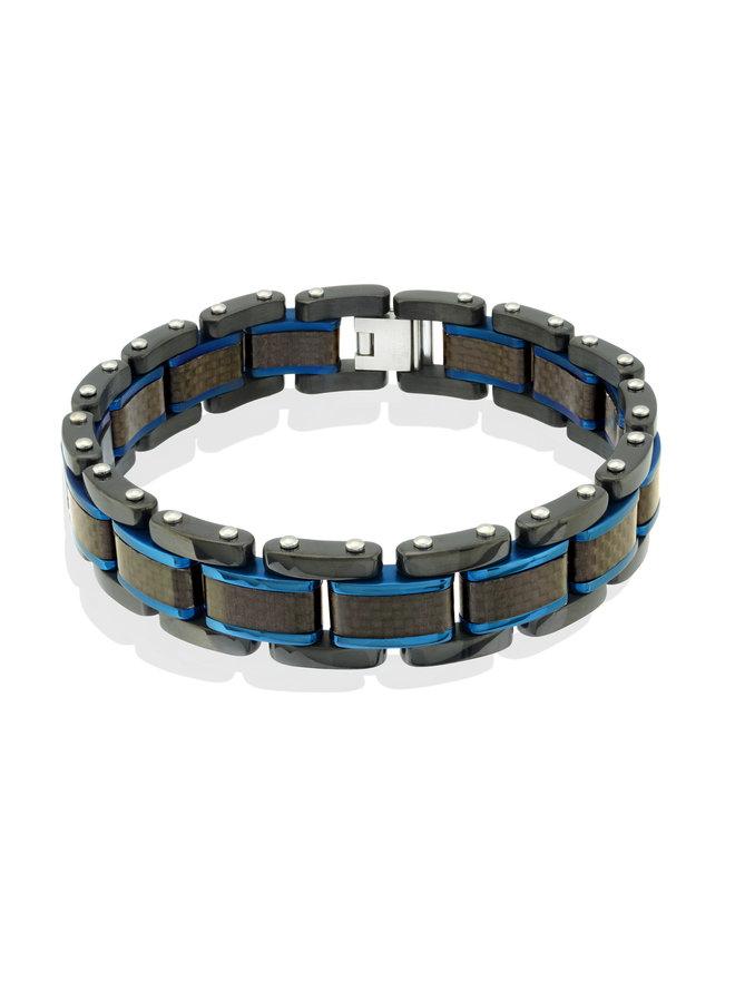 Bracelet homme acier noir-bleu 8.5'' 14mm