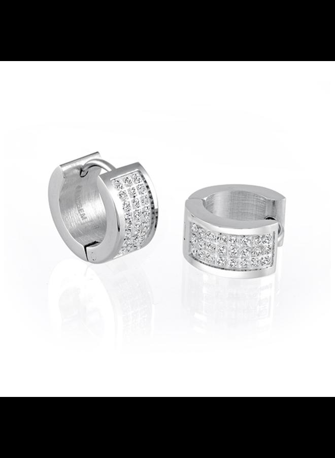 Boucle d'oreille huggies acier zircon 15mm