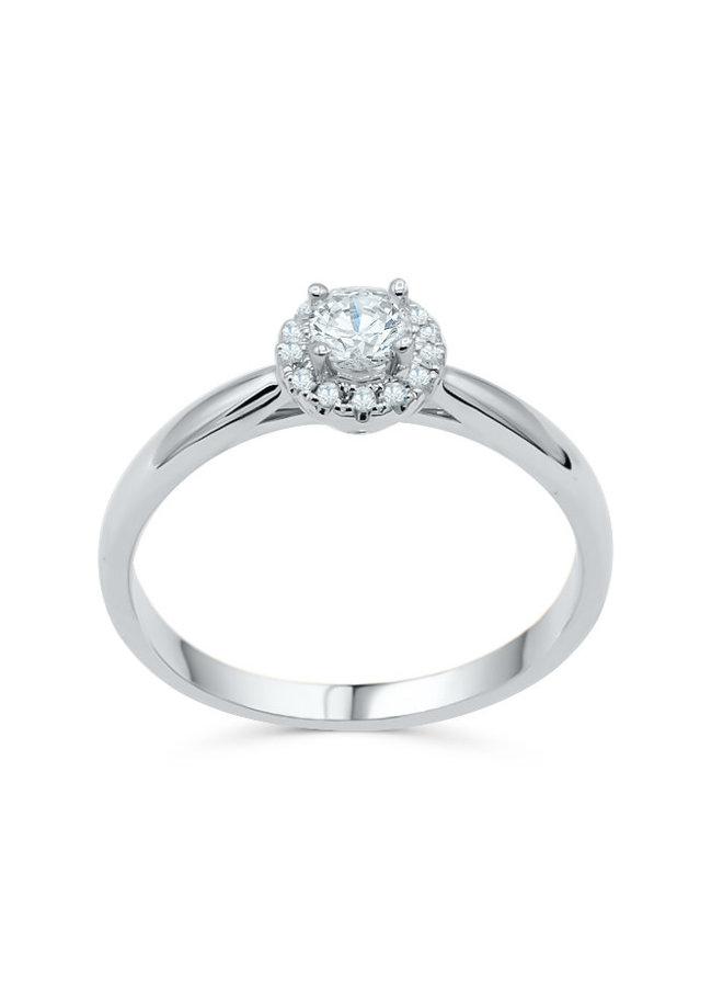 Bague 14k blanc diamant 1x0.25ct SI2 GH 0.07ct SI GH