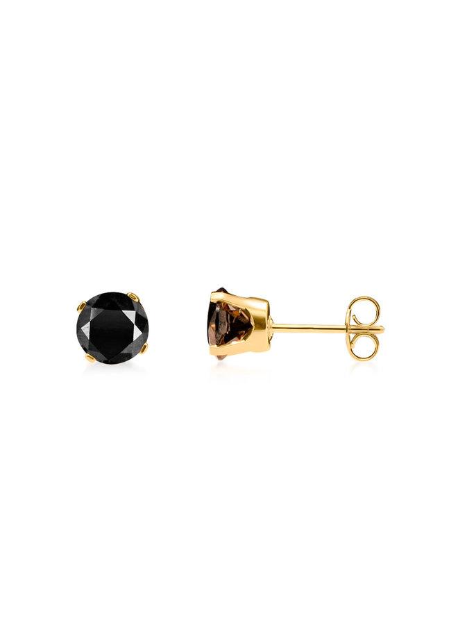 Boucle d'oreille 10k jaune zircon noir 3.75 mm