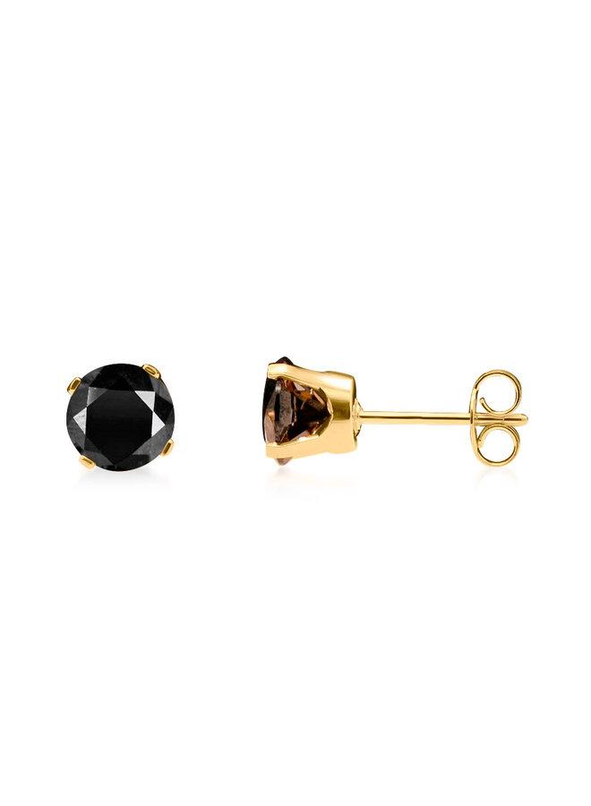 Boucle d'oreille 10k jaune zircon noir 5 mm