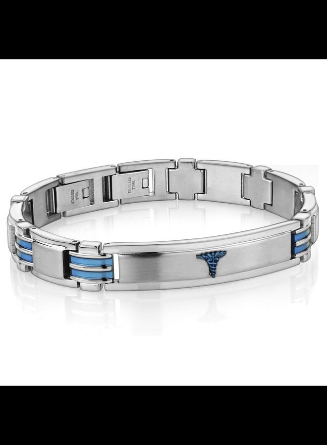Bracelet medic homme acier-bleu 8''