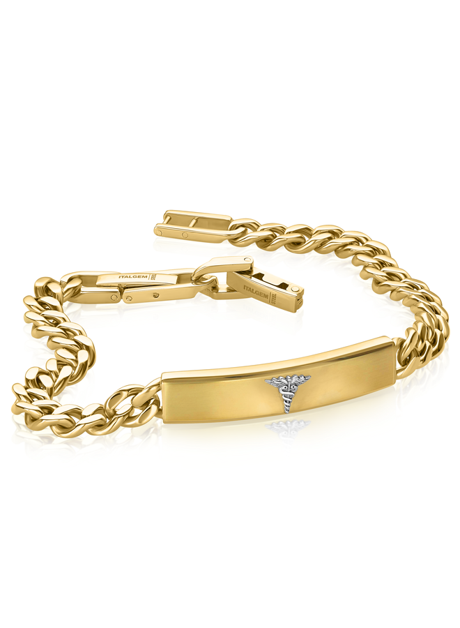 Bracelet medical acier doré 8'' gourmette