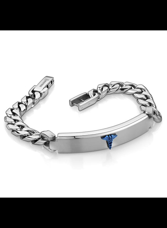 Bracelet medical acier-bleu homme 8.5'' gourmette