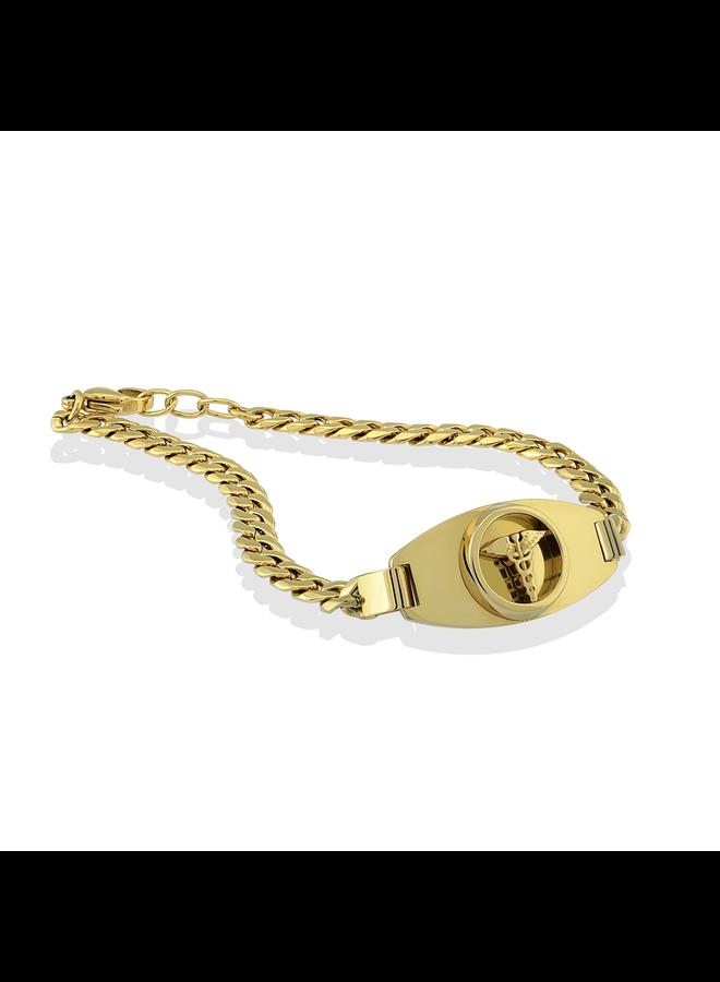 Bracelet medic alert acier inoxydable doré 7.25''
