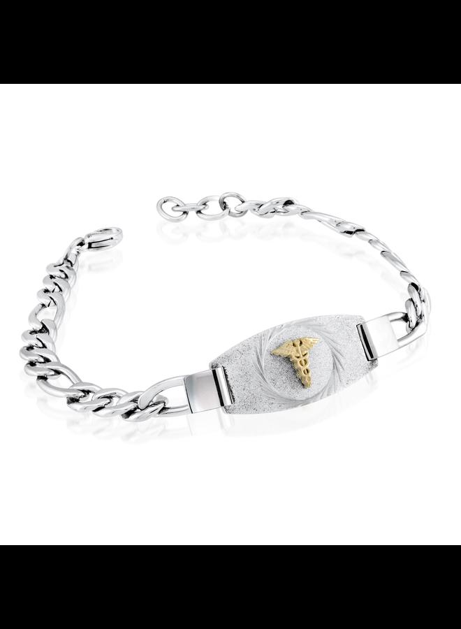 Bracelet medic acier inoxydable figaro 8.5'' logo doré