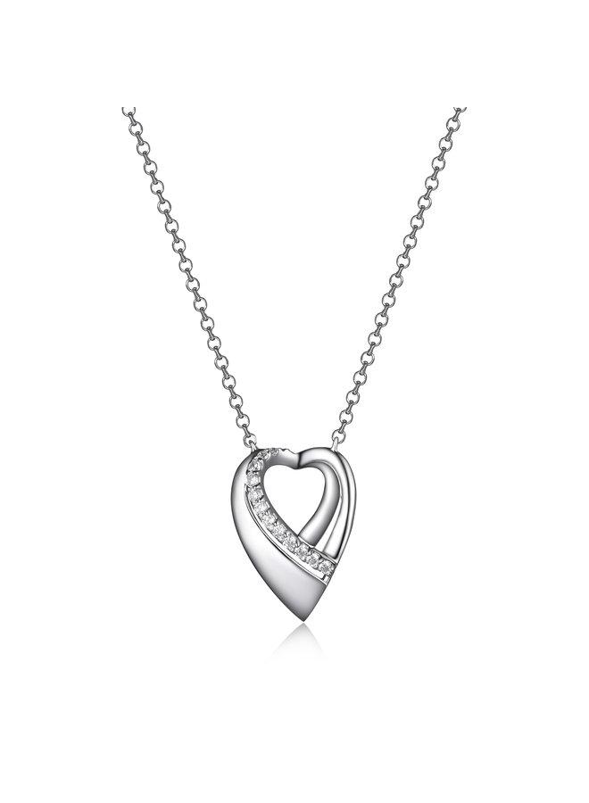 Collier .925 pendentif coeur zircon 16''