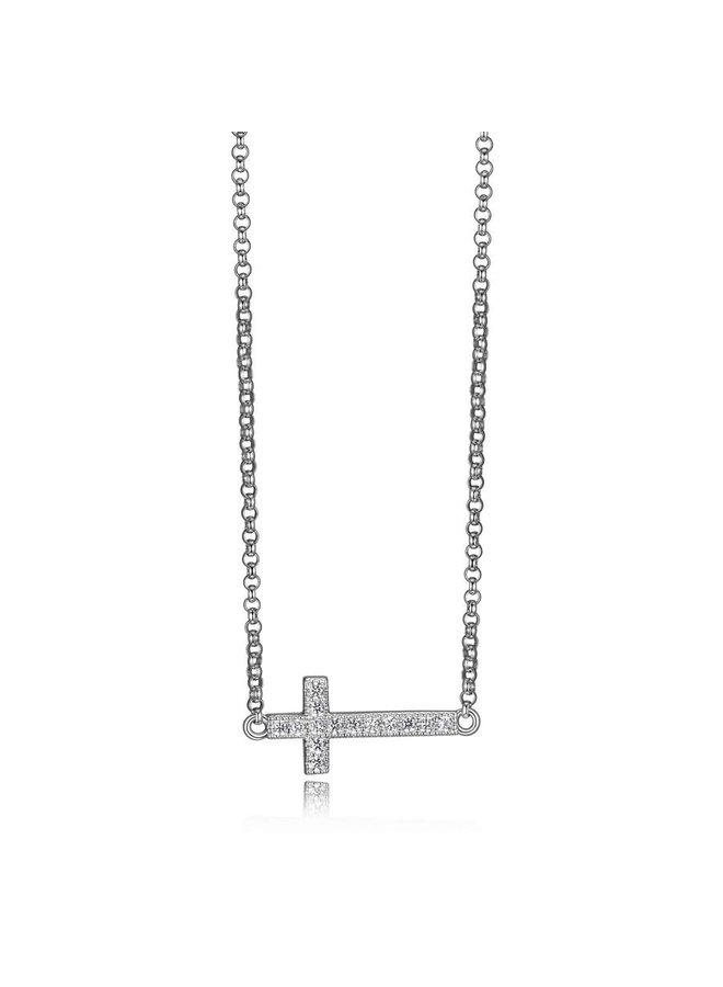 Collier argent .925 avec pendentif croix 16''