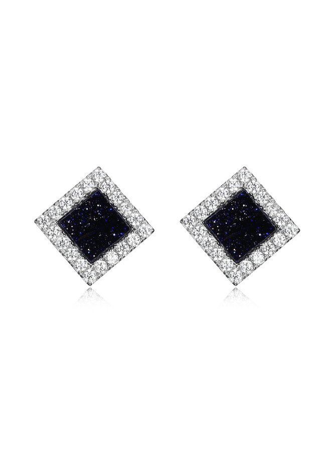 "SS ELLE ""NEFER"" BLUE GOLD STONE STUD EARRINGS WITH CZ IN RHODIUM PLATING."