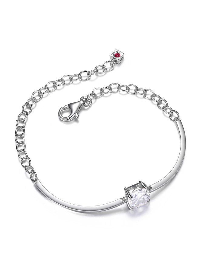 SS ELLE ''SIGNATURE'' CUSHION 8MM BANGLE WITH CHAIN 7.5''